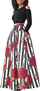 carinacoco Donna Vestiti Lunghi Due Pezzi Senza Spalline Manica Corta Camicetta + Rosa Stampa Gonne Lungo Elegante Vestito...