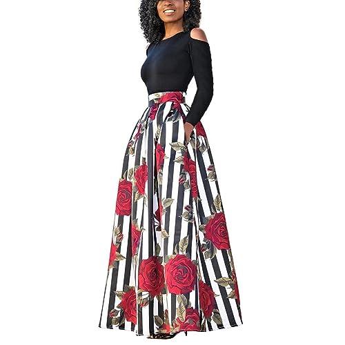 4f04236b91c9 carinacoco Donna Vestiti Lunghi Due Pezzi Senza Spalline Manica Corta  Camicetta + Rosa Stampa Gonne Lungo