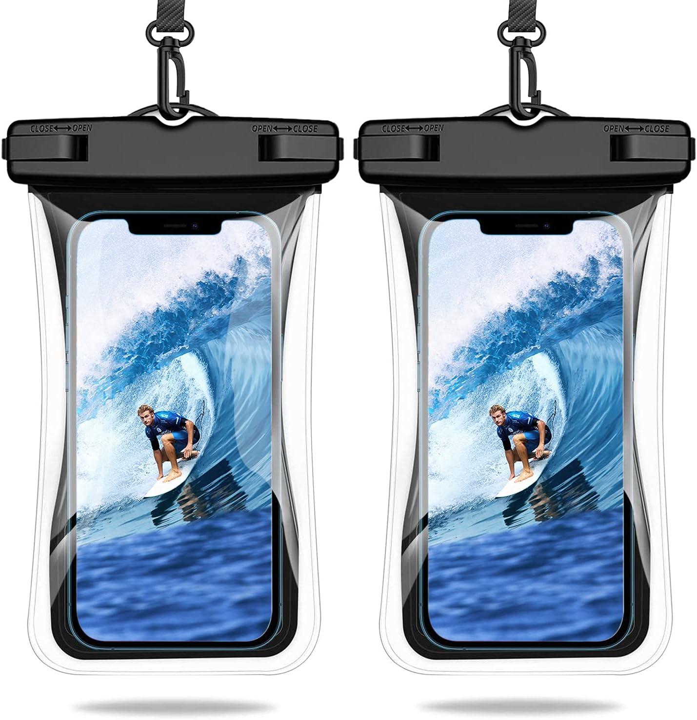 Weuiean Waterproof Phone Case Floating Waterproof Phone Bag, Lanyard Phone Dry Bag for iPhone 12/11/SE/XS/XR 8/7Plus, Samsung S21/20/10/10+/Note, LG, Pixel up to 6.9 inch - 2Pack Black + Black