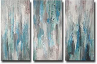 ARTLAND Hand-Painted 'Sea of Clarity' Oil Painting Gallery-Wrapped Canvas Art Set 3-Piece