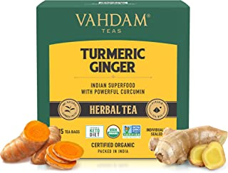 VAHDAM, Organic Turmeric + Ginger Powerful SUPERFOOD Blend (30 Tea Bag) Herbal Tea | Powerful Wellness & Healing Propertie...