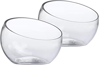 Whole Housewares Glass Slant Cut Bowl, Glass Terrarium, Globe Plant Vases, Candle Holders, Candy Jar Set of 2