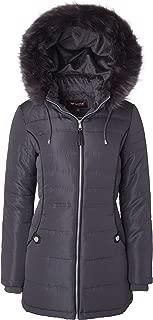 Sportoli Women's Midlength Down Alternative Puffer Coat Fur Trim Plush Lined Detachable Hood