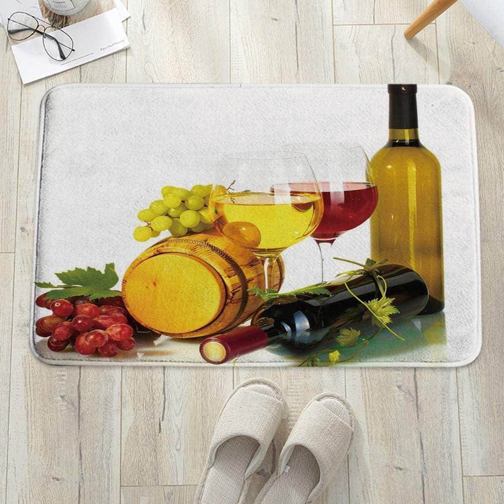 Alfombra de baño Antideslizante 60x100 cm,Vino, Composición con barril pequeño Dos tipos de uvas Bebida,Cocina,Mascota,Alfombrilla De Baño,Antideslizante,Multifuncional,Suave,Cómoda Y Súper Absorbente