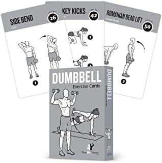 "Exercise Cards Dumbbell Home Gym Strength Training Building Muscle Total Body Fitness Guide Workout Routines Bodybuilding Personal Trainer Large Waterproof Plastic 3.5""x5"" Burn Fat"