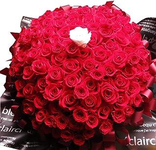 プロポーズ 花束風 バラ 108本 プレゼント プリザーブドフラワー 108輪使用 ケース付き 赤バラ107本 白バラ1本セット