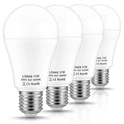 4X LOHAS 17W E27 A60 150W Ampoule Halogène Équivalent, 1600lm, Blanc Froid 6000K, Ampoule LED, 220-240V AC, 180°Larges Faisceaux, Ampoule E27