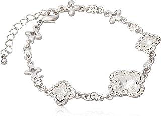 Swarovski Elements Women's 18K White Gold Plated Swarovski Crystal Stone Encrusted Bracelet - SWR-192