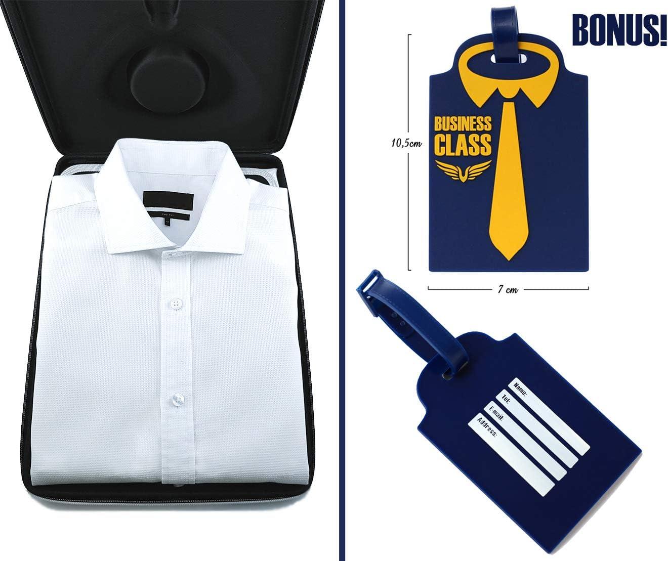 Packshi Bolsa para Camisas De Hombre Funda Camisas Viaje Sin Arrugas con Plegador para Transportar Organizador Maleta Regalo para Hombres Blanco