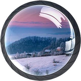 Boutons de tiroir Poignées d'armoire rondes Pull pour bureau à domicile cuisine commode armoire décorer,Paysage de neige