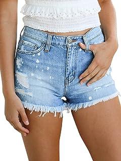 Govc Women's Distressed Splash Denim Short Jeans Summer Juniors Frayed Hem Jean Shorts