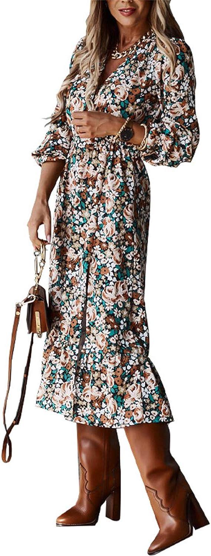 Guteidee Boho Beach Long Dress Summer V Neck Wrap Vintage Floral Print Short Sleeve Split Belted Flowy for Women