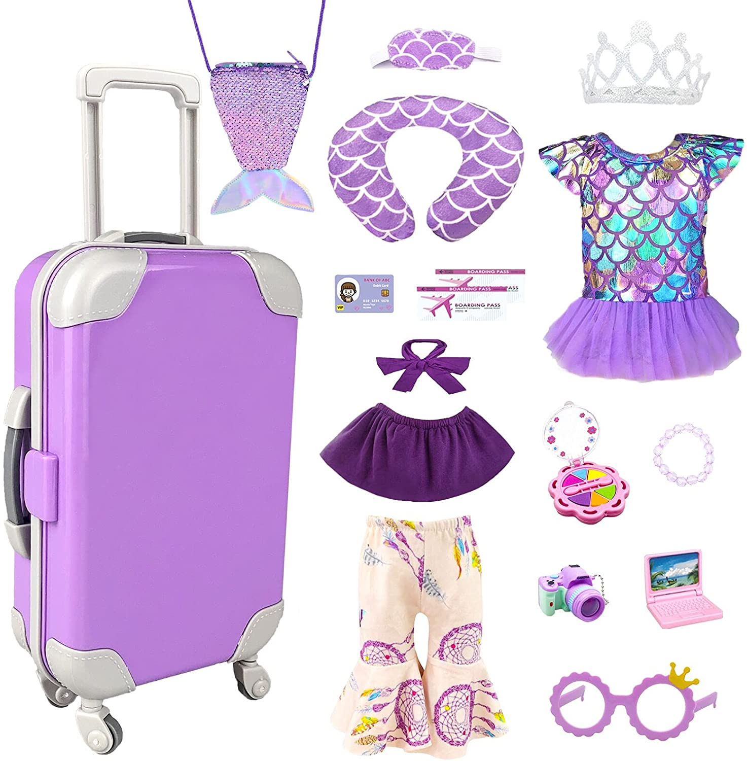 American Doll Clothes and Accessories - 18 Inch Doll Travel Play Set Luggage, American Doll Stuff with 18 Inch Doll Clothes, Cute Bag, Swimsuit and Travel Pillow for Girls Doll Costumes Girls Gifts