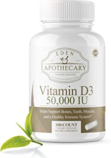 Vitamin D3 50,000 IU units for Bones Teeth Muscles and Immune System - High Potency Dose Vit D Vegetarian Approved Health Supplement - Pharmacist created and approved - 100 count