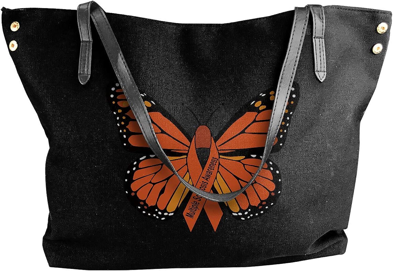 Multiple Sclerosis Awareness Butterfly Women'S Leisure Canvas Handbag For School Handbag