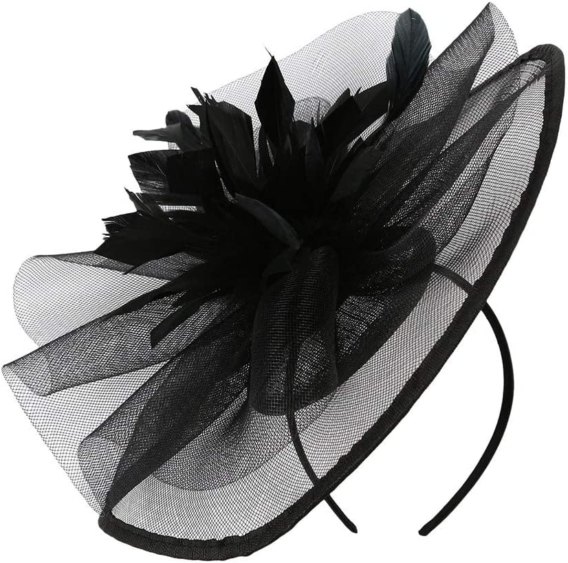 Shmei Hats/Headpiece for Women, Flower mesh Feathers Hair Clip for Girl Cocktail Tea Party Wedding (Black)