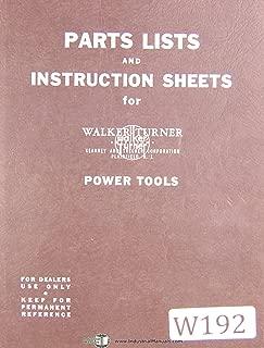 Walker Turner, 900 & 1100 Series, KT, Drill Press, Parts Lists & Instructions Manual