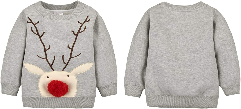 Baby Sweatshirt Girls Boys Christmas Toddler Sweater Long Sleeve Shirts Pullover Top Crewneck Blouse 0-5t