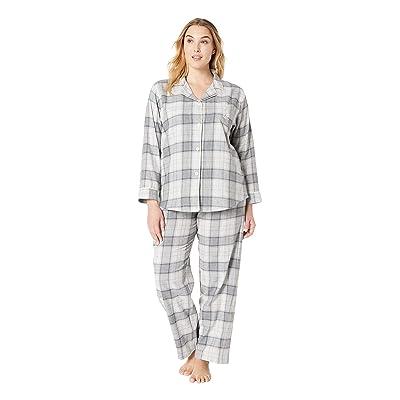 LAUREN Ralph Lauren Plus Size Brushed Twill Long Sleeve Classic Notch Collar Pajama Set (Grey Plaid) Women