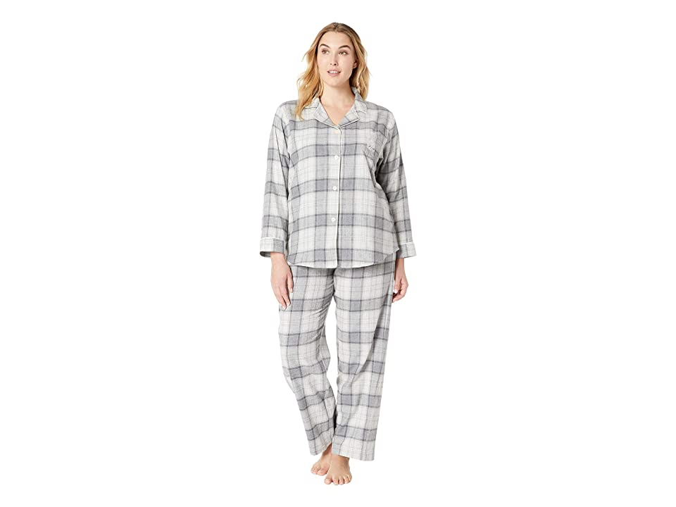 LAUREN Ralph Lauren Plus Size Brushed Twill Long Sleeve Classic Notch Collar Pajama Set (Grey Plaid) Women