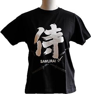 日本のお土産 Tシャツ 侍 & 刀(黒) 【T-shirt / Samurai & Japanese sword (BK)】 (L)