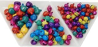 Perlin - Set de 1000 cascabeles de metal, cascabeles de 10 mm + 8 mm + 6 mm, con ojal, multicolor, para manualidades, cascabeles de metal, minicolgantes, para fabricación de joyas, decoración navideña