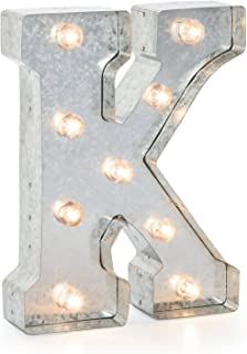 """Silver Metal Marquee Letter– K –Vintage-Style Lighted Marquee Letter with On/Off Switch, Ideal for Weddings, Special Events, and Room Décor, Galvanized Metal Finish, 9.87"""" Tall"""
