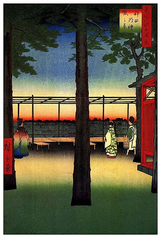ArtPlaza TW92899 Hiroshige Utagawa - Dawn at Kanda Myojin Shrine Decorative Panel 27.5x39.5 Inch Multicolored