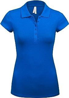 Women's Short Sleeve Royal Blue Color 5 Buttons Slim Fit Polo Shirts(3000-ROYAL BLUE-1X)