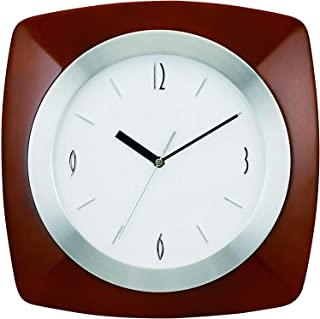 """Tempus Wall Clock with Wood Aluminum Frame and Daylight Saving Time Auto-Adjust Movement, 12"""", Dark Brown, Pack of Two"""