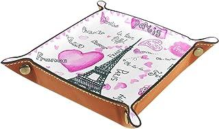 Yuzheng La Tour de l'amour Romantique Tiroir Plateau Bureau Papeterie Articles Divers Gadget Pliable en Cuir Organisateur ...