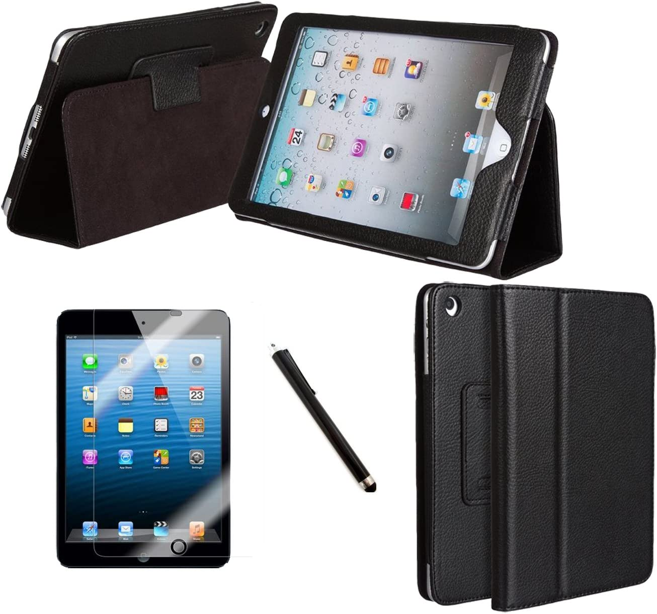 Zeba/® Slim Fit Executive Black PU Leather Multi Function Stand Case with Built-in Magnet for Sleep//Wake feature for the Ipad Mini Tablet includes Screen Protector /& Stylus Pen