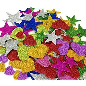 E Shopping® Mixed Shaped Glitter Eva Foam Self Adhesive Stickers for Art & Craft, Card Making, Scrapbooking, Paper Decoration, School Crafts for Kids(Set of 60 Pieces)