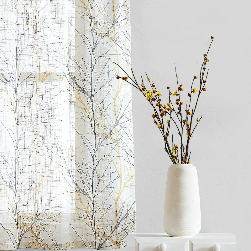 Fmfunctex Tree Print Semi-Sheer Valance Curtain for Windows 15 inch Length Branch Design Kitchen Valance for Bathroom 50 W 1 Panel