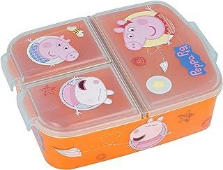 Stor Peppa Pig broodtrommel met 3 vakken voor kinderen, lunchbox, snackbox, decoratieve lunchbox