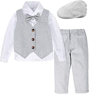 A&J DESIGN Baby Boys Gentleman Suit Set, 4pcs Outfits Shirts & Vest & Pants & Berets Hat