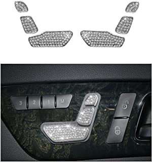 Mercedes Benz Accessories Interior Decorations Seat Adjust Button Caps Cover B E Class CLA CLS GLA GLE GLS SLC Parts Modification Metal Crystal Rhinestone Silver Man Women Cool Shining 6pcs【1797】