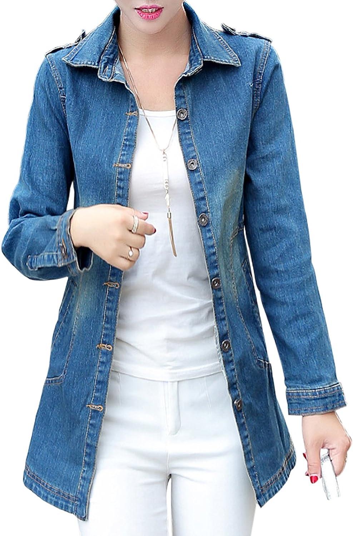 a334bffc Jenkoon Women's Slim Washed Button Front Casual Lapel Lapel Lapel Denim  Jean Jacket Coat 545211