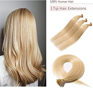 100 Strands/Pack I Tip Remy Human Hair Extensions Pre Bonded Keratin Stick In Hair Extensions Cold Fusion Hair Piece For Women Long Straight #24 Natural Blonde 18'' 50g