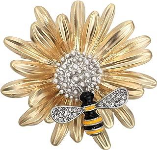 Sun Flower Honey Bee Enamel Pin Rhinestone Brooch for Women