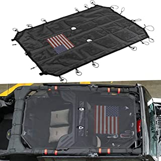 for Jeep Wrangler JK JKU Mesh Shade Top Cover UV Protection Sunshade Net Roofs 4-Door Models (American Flag)