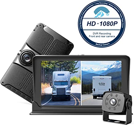 $129 » HD Backup & Front Camera with 7'' Monitor,Dash Camera Front and Rear View Cam DVR with 1080P,Advanced Recording Function,IP69 Waterproof,Night Vision for RV/Pickup/Truck/Trailer/Bus