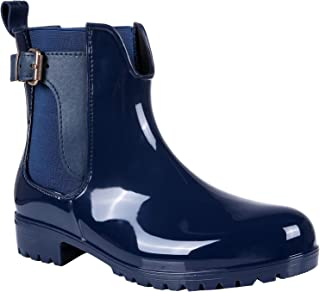 Womens Ankle Rain Boots Shiny Waterproof Short Chelsea Boots
