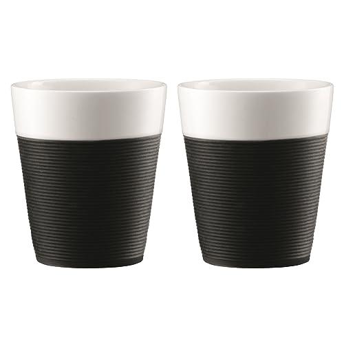 Bodum - 11582-01 - Bistro - Set de 2 Mugs Porcelaine - Bande Silicone Noire