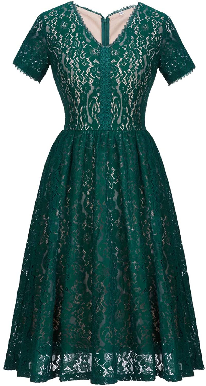 FAIRY COUPLE Women's Vintage Floral Lace Short Sleeve Classy VNeck Formal Party Bridesmaid Swing Dress