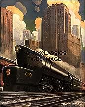 OnlyClassics 1940 Art Deco Pennsylvania Railroad Train Poster Streamlined Locomotive Graphics