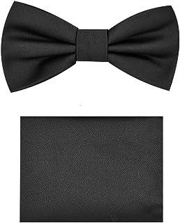 Children's Boys Solid Paisley Pre-Tied Clip On Bow Tie Handkerchief Set