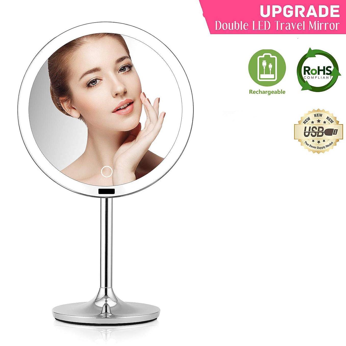 ガスルネッサンスまどろみのある光化 led 化粧鏡、8.5インチの丸型、タッチセンサー付きの明るさ、調光やワイヤレスの充電が可能