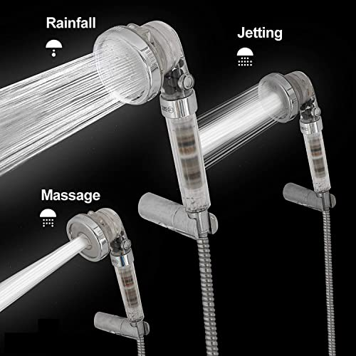 Shower Head and Hose 1.5m long - High Pressure Handheld Ionic Filter Shower Head with 3-Way Shower Modes - Pressure Booster & Water Saving with Spinning Filter Softens Water & Removes Chlorine