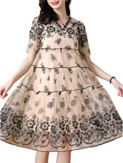 Women's Casual Hooded Dress Embroidered Flowers Short-sleeved Mid-length Babydoll Dress غير رسمي (Color : Apricot, Size : ...